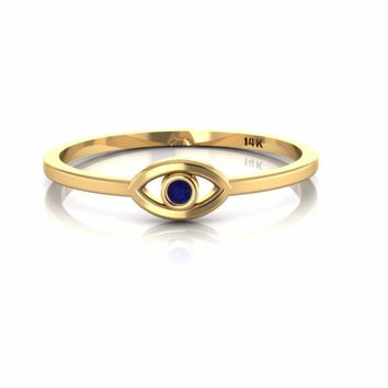 14K Yellow Gold Evil Eye Ring with Blue Sapphire