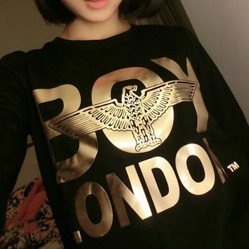 Boy london big letters three-dimensional eagle Eagle bronzing round neck long-sleeved sweater men and women coat sweater