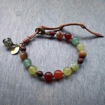 Handknotted bracelet in fall colors, Personalised jewelry, adjustable size Boho bracelet with hand stamped charm and Czech glass bead dangle