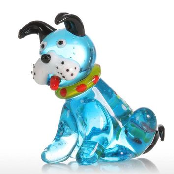 Glass Animal Mini Dog Figurine Home Decor