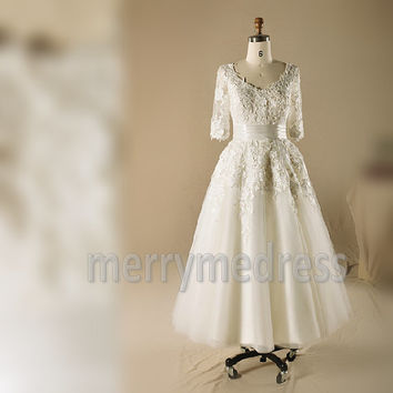 Lace Applique Sleeves Crew Long Wedding Dress, Floor length Tulle Formal Evening Party Prom Dress New Homecoming Dress