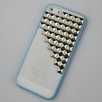 Blue transparent Hard Case Cover With Silvery Stud for Apple iPhone5 Case, iPhone 5 Cover,iPhone 5 Case, iPhone 5g