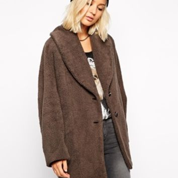 Religion Oversized Boyfriend Coat In Fluffy Fleece Fabric