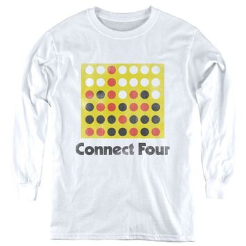 Connect Four Kids Long Sleeve Shirt Vintage Logo White Tee