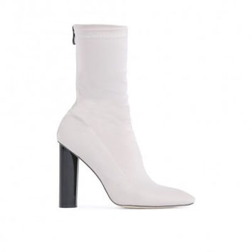 CAYDEN HEELED SOCK BOOTS IN GREY STRETCH