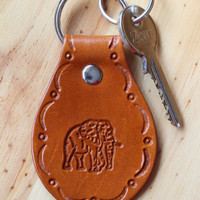 African Elephant Keychain, Hand Tooled Leather Key Chain, Brown Leather African Elephant Key Fob, Handmade Keychain, Elephant Keyring