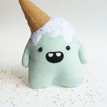 Whoops the clumsy but cute mint plush monster - Stuffed toy - Ice cream - stuffed monster - Plushie - Softie - stuffed toy - plush toy -
