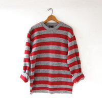 vintage striped sweater. red + gray sweater. boyfriend sweater. crew neck sweater.