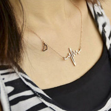 Women Necklace Gold Silver EKG Heartbeat Rhythm with Love Heart Shaped jewelry maxi necklaces CF