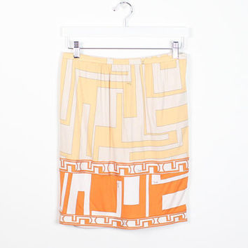 Vintage Signed Emilio Pucci Skirt Printed Yellow Gold Orange Ivory White Iconic Print Italian Silk Skirt Mini Skirt Firenze M L Large XL