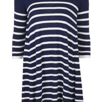 Knitted Stripe Swing Dress - Navy Blue