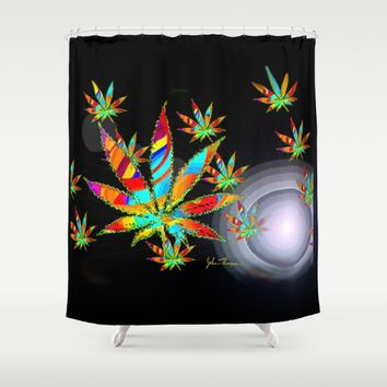 Cannibis Shower Curtain by JT Digital Art