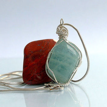 Santa Maria Aquamarine pendant silver wire wrapped blue crystal with silver necklace
