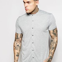 ASOS Jersey Shirt In Short Sleeve With Grandad Collar