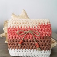 Coffee or Tea To Go Cup Mug Cozy Sleeve Handmade Hand Crochet w/ Bow & Beads