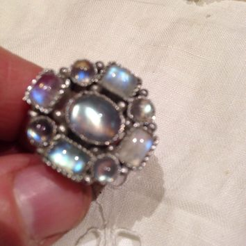 Vintage Handmade Genuine Rainbow Moonstone Filigree setting 925 Sterling Silver gothic Ring