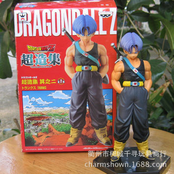 Imported Dragon Ball Z Trunk resurrected figure Anime Manga toy with stand and box