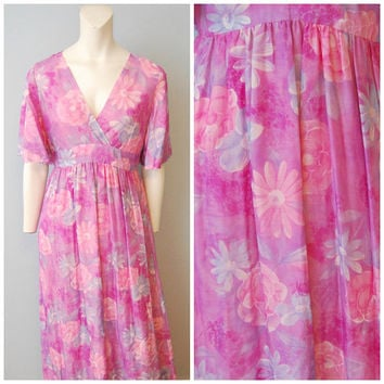 Vintage 1960's Purple Floral Maxi Dress Mumu Hawaiian Daisy Flowers Hippie Short Sleeve Handmade V-Neck Empire Waist Dress Boho Bohemian