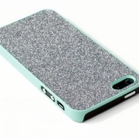 Premium Sparkles Bling Slim Hard Case for Apple iPhone 5S / 5 - Includes DandyCase Screen Cleaner [Retail Packaging by DandyCase] (Silver / Mint Green)