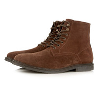 Brown Suede Lace Up Boots - Boots - Shoes and Accessories - TOPMAN USA