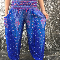 Gypsy Boho Peacock Printed Yoga Pants festival Boho Hippies Styles Clothing Clothes Tribal Beach Spring Summer For Women Bohochic in blue