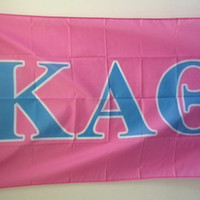 Kappa Alpha Theta Light Pink/Light Blue Letter Flag 3' x 5'