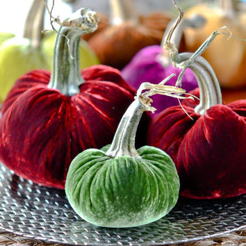 Silk Velvet Pumpkin 3-Piece Set - Holiday Colors, Merlot Red and Dark Green, Christmas Decor, Table Centerpiece