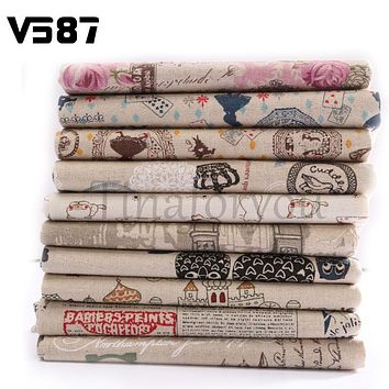 Vintage Printing Pattern Cloth Natural Cotton Linen Fabric Quilting Patchwork Sewing DIY Textile Multi Pattern Option 78X51CM