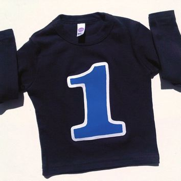 Old biggie- navy long sleeve with royal blue number 1 -Birthday T Shirt- 1st birthday shirt