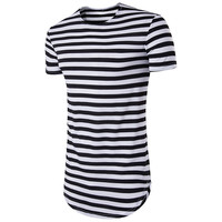 Stripes Short Sleeve Tops Summer Men Round-neck T-shirts [10352115139]