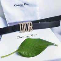 DIOR New fashion diamond letter buckle leather belt Black