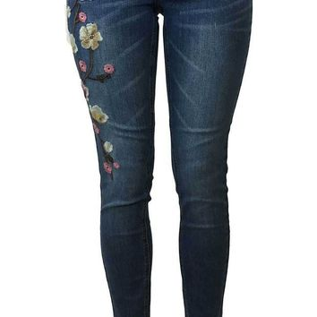 ICIKAB3 Soundgirl Floral Embroidered Cropped Skinny Jeans