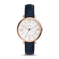 Jacqueline Three-Hand Date Leather Watch – Blue