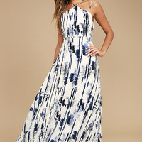 Sea Me Now Blue and White Print Maxi Dress