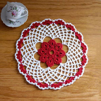Red Flower Lattice Lace Crochet Doily by from NutmegCottage on