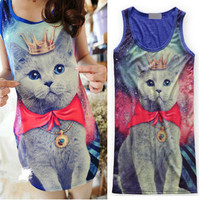Unisex women men Galaxy cat graphic print t-shirt long rock punk top dress