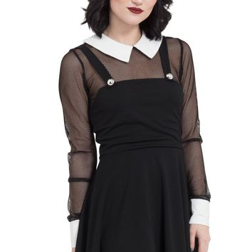 Jawbreaker Gothic School Punk Witch Fishnet Collar Black Mini Dress (XL)