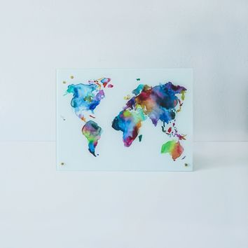 New Glass Magnetic Watercolor World Map Dry Erase Board
