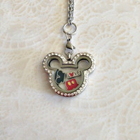 Living locket stainless steel Mickey Inspired locket with crystals  and charms