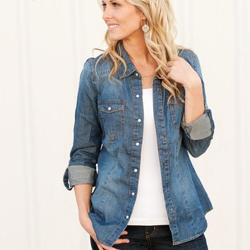 Dark Wash Chambray Top