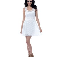 White Lace Tank Fit N Flare Short Dress