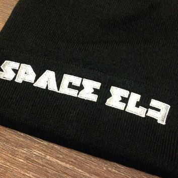 Space elf hat / beanie russian prision writing BLACK