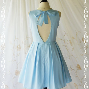 Alice In Wonderland II - Adorable Baby Blue Dress Cut Off Back Sundress Party Dress Spring Summer Sundress Blue Bridesmaid Dresses XS-XL