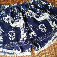 Blue shorts Lace elephants Boho printed Cute Comfy fabric for Summer Festival Clothing Bohemian Gypsy Styles Fashion Clothing Beach Women