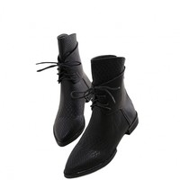Cro-effect Lace-up Platform Biker Boots