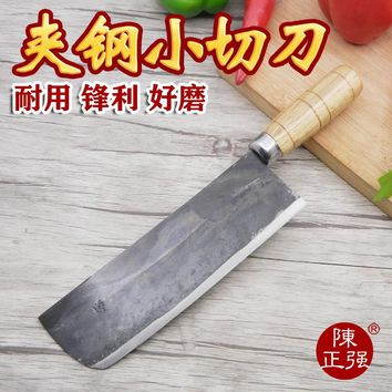 Pure Handmade Carbon Steel Forged Kitchen Slicing Knife Cutting Meat Vegetable Knife Western Style Chef Cooking Knife Cleaver