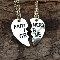 Gold Partners in Crime Necklace, Best Friend Necklace, BFF necklace, Split Heart Necklace, Best Friend Forever Christmas Gift