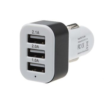 Universal 3 Colors Car Charger 5V 2A Fast Charger 3 Port USB