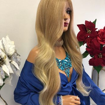 """Blond Swiss Lace Front Wig 27"""" 1218 2"""