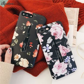 Korean Retro Flowers Floral case for iphone X 8 8plus 7 7plus 6 6s 6plus 6splus Hipster Softpink Back Cover